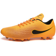 MAULTBY Men's Black / Orange AG Sole Outdoor Cleats Football Boots Shoes Soccer Cleats #S31703O