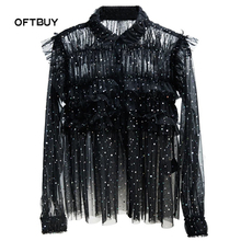 OFTBUY 2017 new spring summer korean fashion dot sequin beading ruffle long sleeve sexy black shirt women lace blouse cropped