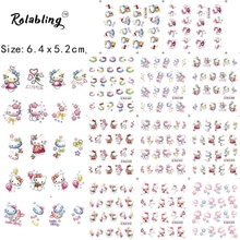 Rolabling lovely Hello Kitty Cartoon water transfer Nail Sticker decal on nail art decal Decoration for cheap nail decals(China)
