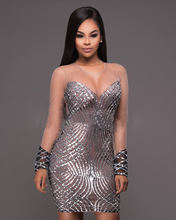 Womens Sexy Dresses Party Dress Silver Sequin Zipper Dress Women Night Club Cloth Bandage Bodycon Dress