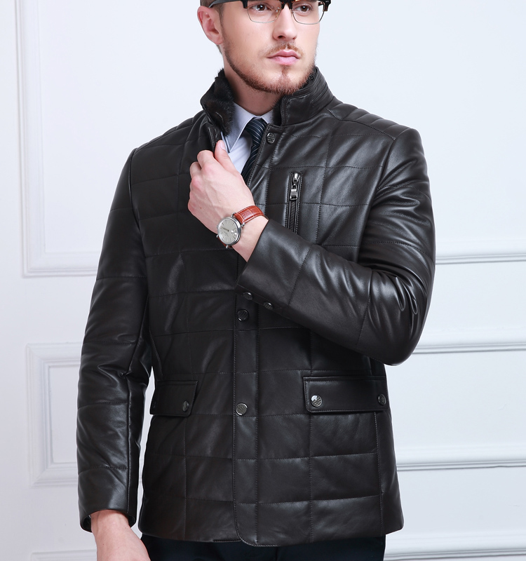 New 2017 business high quality sheepskin stand coat For man Leather jacket men Genuine Leather coat