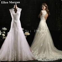 Real Pictures Wedding Dresses 2017 Elegant Sexy V-neck Lace Long Summer Beach Garden Custom Made in China Designer Bridal Gowns