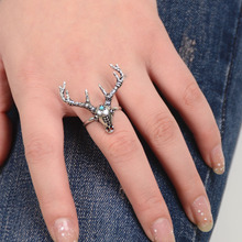 Fashion New Style Gold Silver Christmas Snowflake Antlers Elk Ring for Women Men Charm Jewelry Christmas Decoration Party Gift(China)