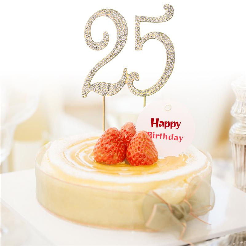 1 X 25 Cake Topper For 25th Birthday Party Or Anniversary Crystal Rhinestones Decorative Supplies