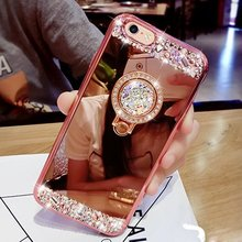 Luxury Diamond Soft Rubber Crystal Rhinestone Glitter Mirror Case for Girls with Ring Stand for iphone 5s 6/6plus 7/7plus(China)