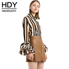 HDY Haoduoyi 2017 New Fashion Striped Tops Women Flare Sleeve Female Single Button Shirts Street Style Ladies Blouses Shirts