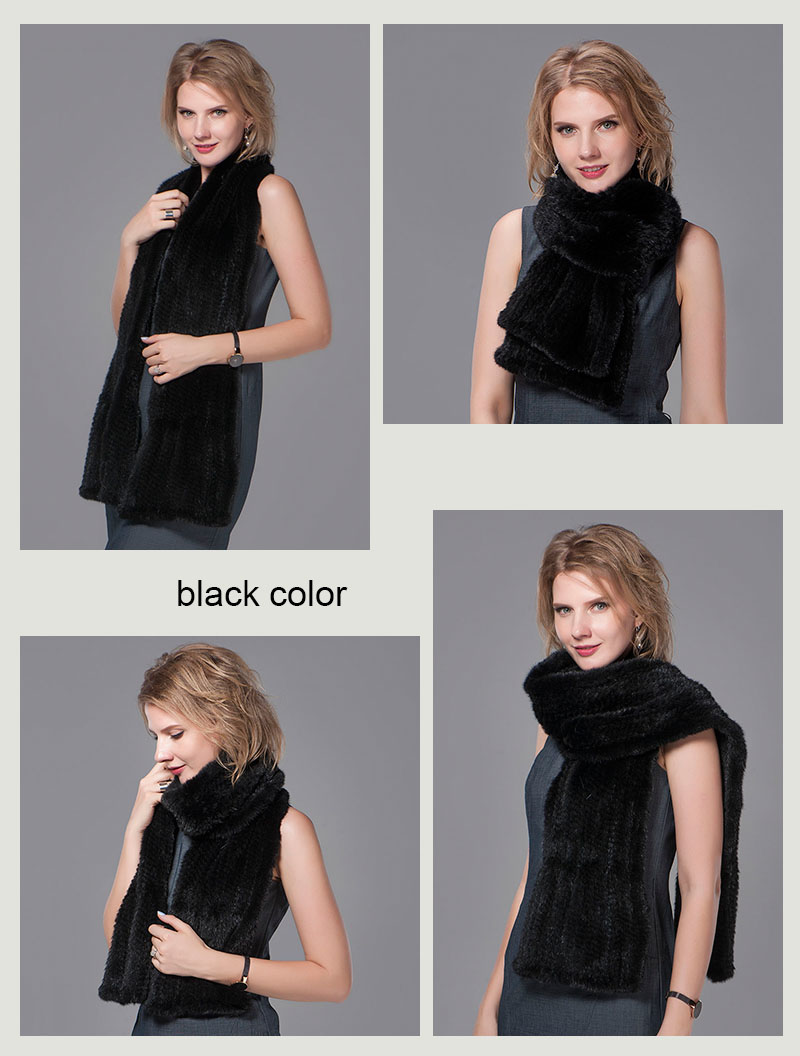 color black mink fur scarf