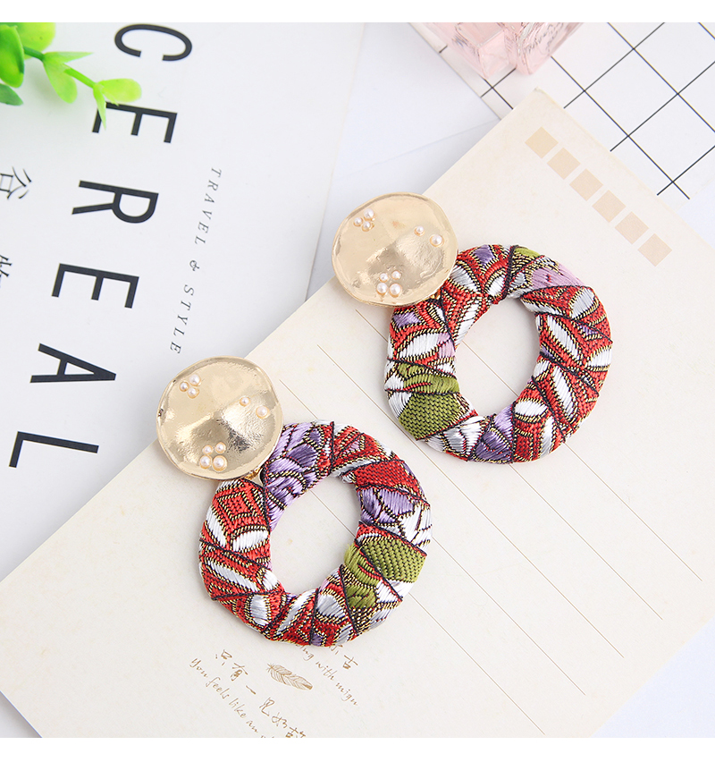 Colorful Dangle Drop Bohemian Cotton Cloth Statement Earring