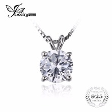 JewelryPalace Classic Round 1ct Real 925 Sterling Silver Jewelry Solitaire Pendant Necklace 18 Chain Fahion Gift For Women(China)