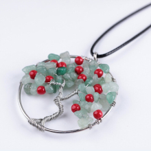 New Fashion Natural Olivine Gravel Tree of Life Red Round Beads Pendant Necklace Charm Boho Jewelry