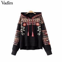 Vadim vintage totem geometric embroidery hooded sweatshirt oversized sequined long sleeve pullover casual tops sudaderas SW1211(China)