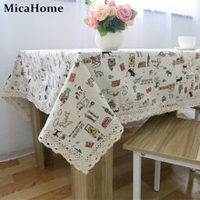 GOOD DESIGN Cotton/Linen Tablecloth Dining Table Cloth Little Cat and UK Flag Cartoon Table Ware Decor