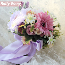 Sully Wong 2017New Silk flower wedding bouquet Daisy Artificial flowers fall vivid fake leaf bridal bouquets decoration(China)