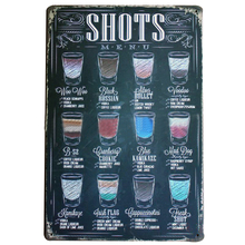SHOTS MENU Vintage Wine Sign Retro Tin Neon Plaque Decor Home Plate for business lounge office party wall art LJ4-12 20x30cm