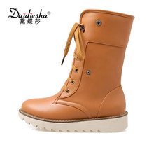 Daidiesha 2017 women winter ankle boots shoes women Warm now boots women tHICK fur leather boots rubber Lace up boots(China)