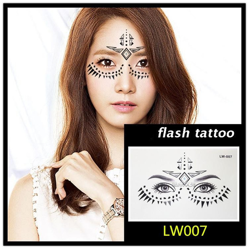 Hot sale Masquerade flash tattoo paste face temporary face stickers jewelry Arab India's large temporary tattoos makeup tattoo 9