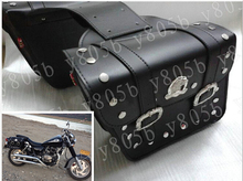 Black PU Leather Side Bag Saddle Bags For Honda Yamaha Suzuki Kawasaki Harley Bobber Custom Chopper Cruisers Street Bike