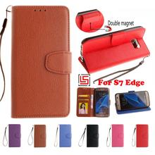 PU Leather Lether Flip Book Wallet Walet Wallt Phone Mobile Case Cover Bag For Samsung Galaxy S7 Edge Purple Blue Brown Black