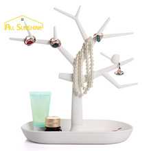 Plastic Bird Tree Shaped Jewelry Display Rack Bracelet Necklace Earring Ring Display Stand Organizer Holder
