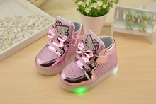 Hello Kitty Rhinestone Led Light Shoes Children Baby Girls fashion PU shoes Slip-on casual shoes for Christmas