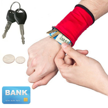New 1PC Hot Popular Sweat Absorbing Zipper Opening Polar Fleece Unisex Wrist Wallet Cuff Key Case(China)