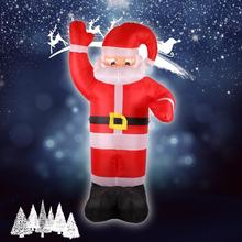 2.4m Inflatable Santa Claus Red Hand Christmas Inflatable Santa Claus Cute Xmas Party Decoration Outdoor Inflatable Statues