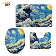 HUGSIDEA Creative 3D Swirl Painting Non-slip Carpet Tapis 3PCS Set Home Hotel Decor WC Toilet Warm Lid Pads Area Rugs Mats