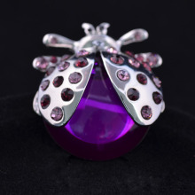Fashion Purple Crystal Jewelry Statement Rhinestone Glass Ladybug Rings for Women Adjustable Big Insect Ring(China)