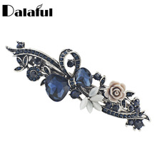 Dalaful Opals Resin Flower Hair Clip Barrette Bowknot Hairpin Headwear Accessories Gift For Woman Girls 3 Colors F141(China)