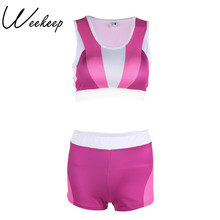 Weekeep Women New Fitness 2 Peice Set Tank Top+Shorts Feminino Tracksuit Printed Sexy Push Up Bra+Bottom Work Out Two Piece Set