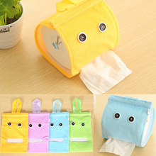 New 1pc Plush Cloth Tissue Box Case Holder Toilet Paper Cover Hanging paper towel tube bathroom/office/car/restaurant(China)