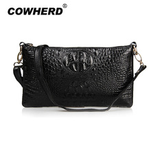 Big capacity message bags! Women's Casual Crocodile Genuine Cow leather Handbag Purse Most fashion shoulder Bags 11 colors 006(China)