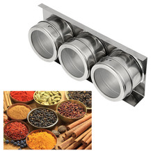 3PCS Stainless Steel Magnetic Spice Storage Jar Tins Container With Rack Holder(China)