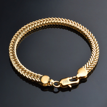 JEXXI Hot Gold Bracelet Stamp Gold Color Men Jewelry Trendy Cuban Chain Bracelets For Famle Wholesale Price(China)