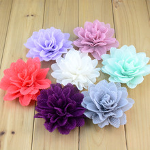 30pcs/lot Beautiful Pleated Fabric Chiffon Flower Headband Hair Accessories Neon Color Available TH222