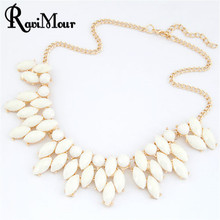 RAVIMOUR Jewelry Maxi Collares Choker Statement Necklaces & Pendants Imitated Gemstone Collier Femme for Women Accessories 2017