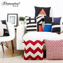 Zhuimenglong Hot Sale Wholesales Linen Pillow Cover Red Grey Cushion Cover Geometric Style Home Decorative Pillow Case 45x45cm