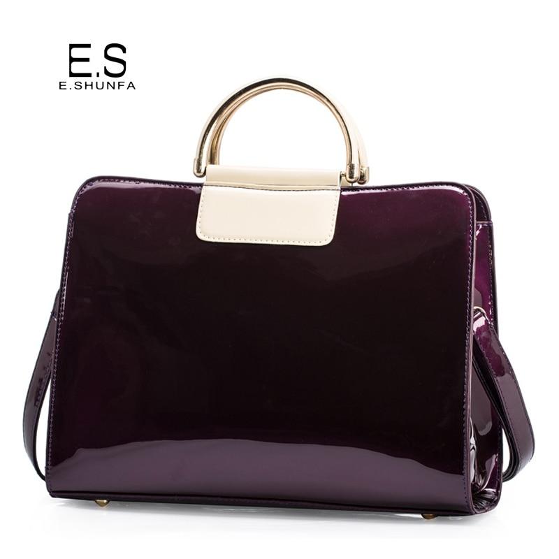 Patent Leather Shoulder Bags For Women 2018 Elegant Fashion Handbag Tote Bag Womens High Quality Saffiano Shoulder Bag Black<br>