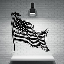 Patriotic Decor Wall Stickers Stars Striped Symbol of the State Flag of USA Wall Decals Perfect Quality Wallpaper Poster SA848(China)