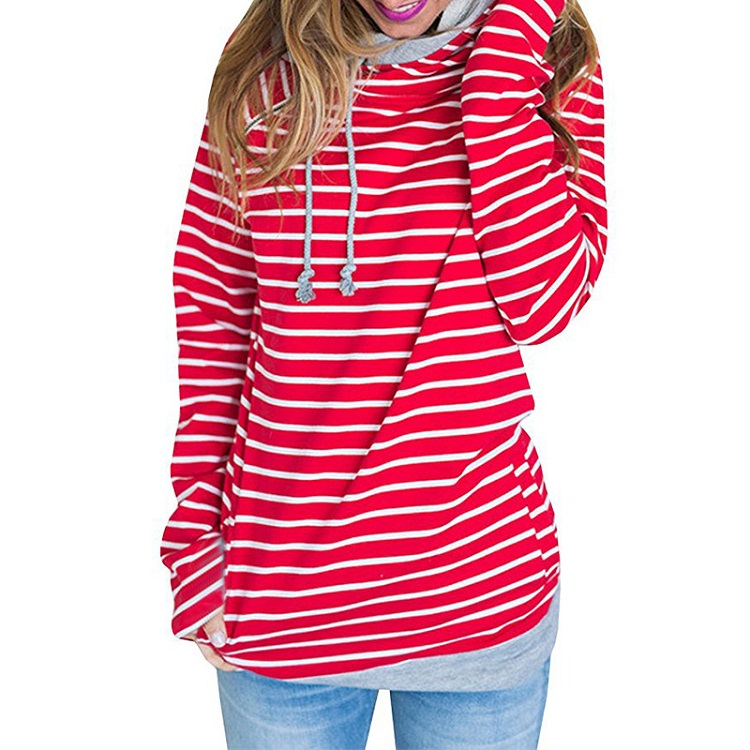 New Double Hood Sweatshirt, Women's Long Sleeve, Side Zipper Hooded Casual Pullover 66