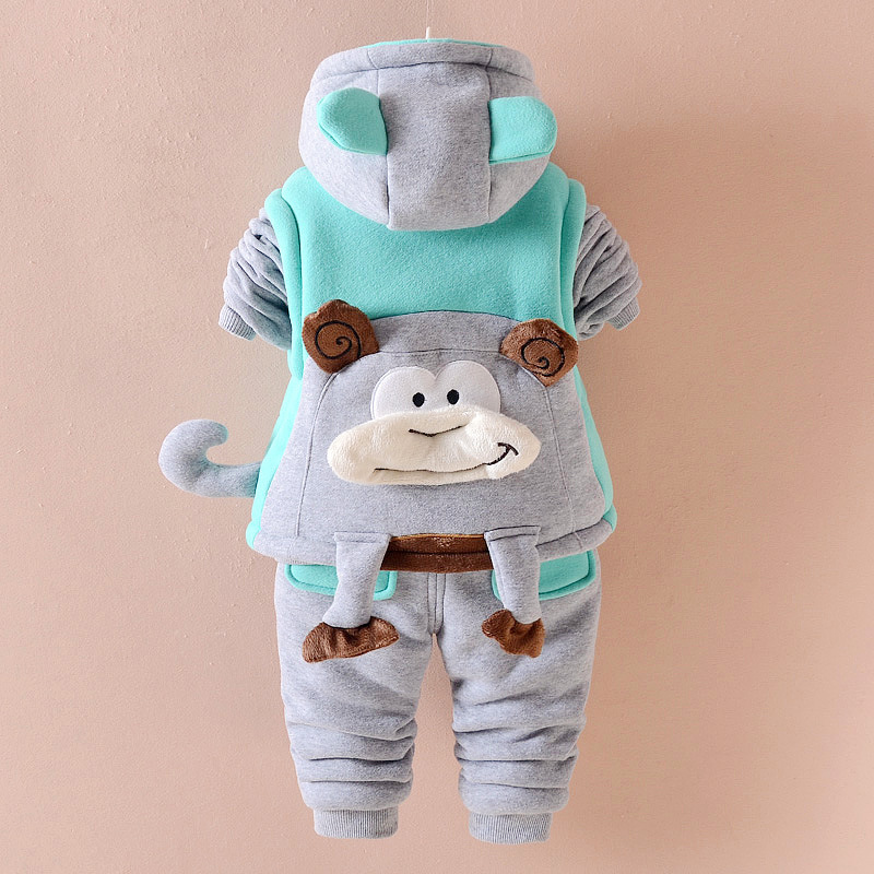 Monkey Cartoon Baby Boy Cute Warm Winter Coat Thicken 3 Pieces Suit Hooded Unisex Casual Set TZ003<br>