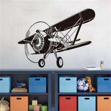 Creative Design Airplane Wall Decals Kids Room Wall Stickers Waterproof Removable Plane Wall Paper(China)