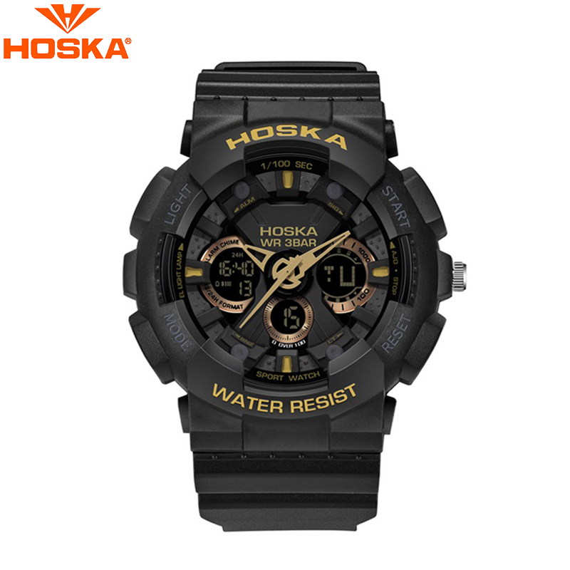 HOSKA Multifunctional Luminous Watch Men Fashion Outdoor Sport Wristwatches Dual Movement Display Watches with Date Display<br>