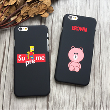 Fashion Supreme Simpson case For iPhone 7 6 6SPlus 7plus cute bear brown case Coque Hard PC Coque Funda Cover For iphone 5s case