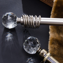 2016 High quality 28mm diameter curtain poles artistic crystal ball or cone 200cm iron single curtain rods(China)