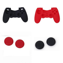 Bevigac 4pcs Thumb Stick Grip Cap 2pcs Silicone Case Cover Skin Shell For Sony Playstation PS4 PS 4 Dualshock 4 Gamepad(China)