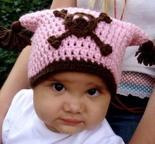 free shipping,Handmade Crochet Pink/Black Skull Hat Newborn Baby Child Knit Hat Photograph Photo props(China)