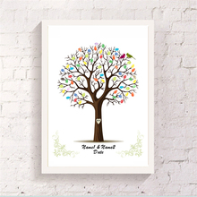 Customize Canvas Attendance Signature Guestbook With 2 Ink Pad Gift Pretty Finger Graffiti Tree Wedding Baby Shower Art Painting(China)
