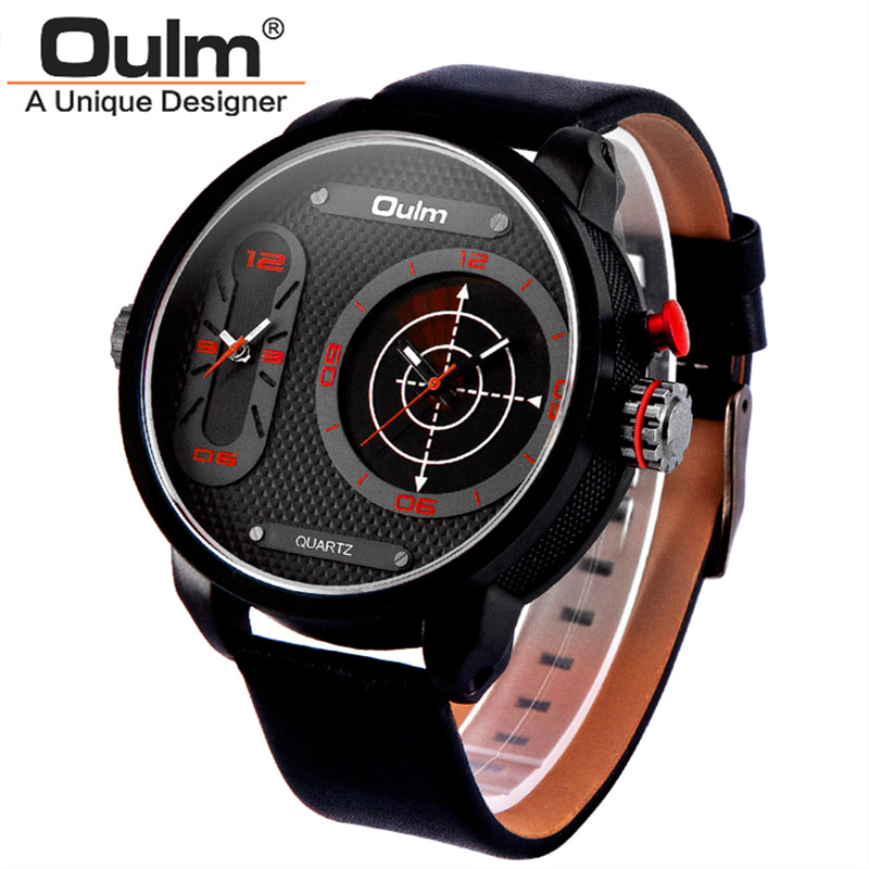 Big Face Mens Designer Watches Sport Male Future Hot Luxury Brand Oulm Leather Army Quartz Wristwatch Relogios Masculinos 2016<br><br>Aliexpress
