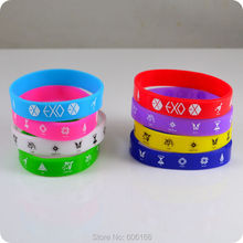 HOT 50x EXO member Silicone Wristband Bracelets Bangle Korean S.M.Entertainment Company fashion jewelry Wholesale